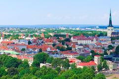 Scenic summer aerial panorama of the Old Town in Tallinn, Estonia Stock Images