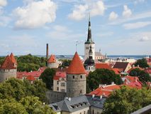 Scenic summer aerial panorama of Tallinn Stock Images