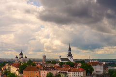 Scenic summer aerial view of the Old Town architecture in Tallinn, Estonia Royalty Free Stock Image