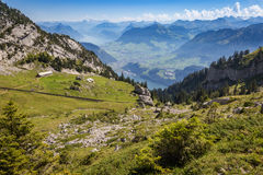 Scenic summer alpine landscape of mountain ranges Stock Images