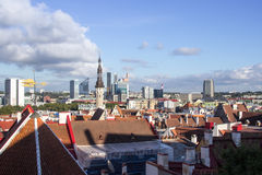 24-27.08.2016 Scenic summer beautiful aerial skyline panorama of the Old Town in Tallinn, Estonia Royalty Free Stock Photos