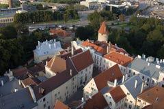 Scenic summer beautiful aerial skyline panorama of the Old Town in Tallinn, Estonia Stock Image