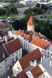 Scenic summer beautiful aerial skyline panorama of the Old Town in Tallinn, Estonia Royalty Free Stock Images