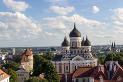 Scenic summer beautiful aerial skyline panorama of the Old Town in Tallinn, Estonia Royalty Free Stock Photos