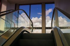 Skyline an elevator at Hilton Hotel, Austin Texas USA royalty free stock photos