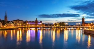 Evening panorama of Stockholm, Sweden. Scenic summer evening panorama of the Old Town (Gamla Stan) in Stockholm, Sweden Stock Image