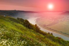 The scenic summer landscape, bend of the river at fog. Royalty Free Stock Photos