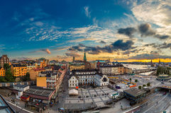 Scenic summer night panorama of  Stockholm, Sweden. Night view of Gamla Stan, the old part of Stockholm, Sweden in summer Royalty Free Stock Photo