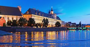 Night view of the Old Town of Wroclaw, Poland. Scenic summer night view of the University building and Oder river embankment in the Old Town of Wroclaw, Poland stock video