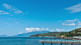 Scenic summer panorama of Black Sea pier . stock video