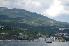 Scenic summer panorama of Black Sea pier Stock Images