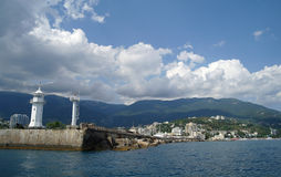 Scenic summer panorama of Black Sea pier Royalty Free Stock Image