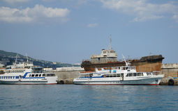 Scenic summer panorama of Black Sea pier Stock Photo