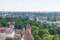 Scenic summer panorama of the city Tallinn, Estonia Stock Images