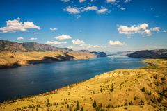Summer panorama of the Kamloops lake in Canada. Scenic summer panorama of the Kamloops lake  situated on the Thompson River along the Trans Canada Highway Royalty Free Stock Images