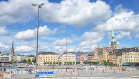 Scenic summer panorama of Stockholm, Sweden. Stockholm, Sweden - August 18, 2014 - Scenic summer panorama of the Old Town (Gamla Stan) in Stockholm, Sweden Royalty Free Stock Photo