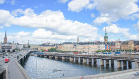 Scenic summer panorama of Stockholm, Sweden. Stockholm, Sweden - August 18, 2014 - Scenic summer panorama of the Old Town (Gamla Stan) in Stockholm, Sweden Royalty Free Stock Photography