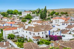 Scenic summer sight in Obidos, Leiria District, Portugal. royalty free stock photos