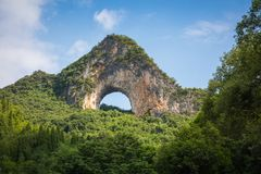 Scenic summer sunny landscape at Moon Hill, Yangshuo County of G. Uilin, China Stock Image