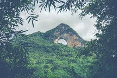 Scenic summer sunny landscape at Moon Hill, Yangshuo County of G. Uilin, China Stock Photography