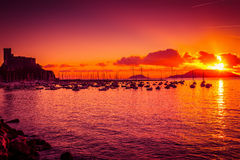 Scenic summer sunset above the sea in Lerici Royalty Free Stock Photo