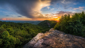 Scenic  summer sunset, Appalachian Mountains. A scenic summer sunset and passing storm from along the Kentucky and Virginia State Line Stock Photos