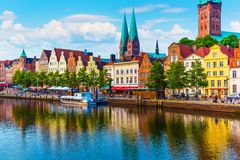 Lubeck, Germany. Scenic summer sunset view of the Old Town pier architecture in Lubeck, Germany Royalty Free Stock Photography