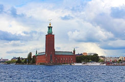 Scenic summer view of the City Hall castle, Stockholm Royalty Free Stock Image