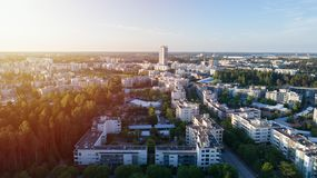 Scenic summer aerial view of the modern architecture with business skyscrapers and apartment buildings in the Vuosaari district of stock photos