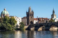 Scenic summer view. River Vltava. Prague. Czech Republic Royalty Free Stock Photos
