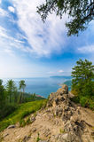 Scenic sunny day landscape at the Baikal lake. Scenic landscape at the bay of Baikal lake in Siberia Russia Stock Image