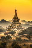 Scenic sunrise above Bagan in Myanmar royalty free stock image