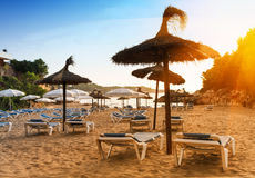 Scenic sunrise on the beach in Mallorca. Royalty Free Stock Images