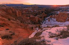 Bryce Canyon National Park Winter Sunrise royalty free stock photography