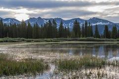 Sunrise on a mountain Lake royalty free stock image