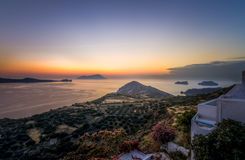 Scenic sunset as seen from Plaka town in Milos island stock photo