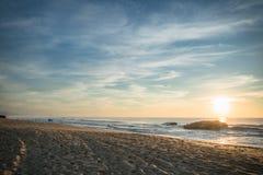 Scenic sunset in blue yellow sky background on atlantic coast, capbreton Stock Photography