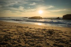 Scenic sunset dreamscape on beautiful sandy beach seascape with waves on atlantic ocean in blue golden sunset sky in warm autumn o. Ctober, capbreton Stock Images