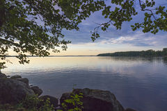 Scenic sunset on the Gulf of Finland. The picturesque landscape on the shores of the Gulf of Finland royalty free stock images