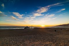 Scenic sunset in Malibu shoreline. Los Angeles, California Royalty Free Stock Photography