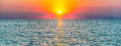 Scenic sunset on the mediterranean sea Stock Images