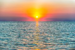 Scenic sunset on the mediterranean sea Royalty Free Stock Image