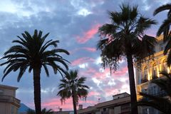 Scenic sunset in Menton Royalty Free Stock Images
