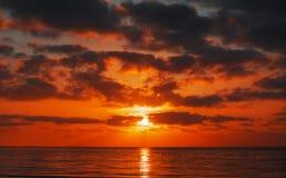 Scenic sunset over Alghero sea Stock Photo