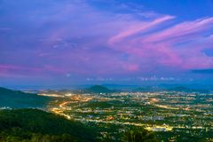 Scenic sunset over Phuket Town nightlife. Thailand. View from above Royalty Free Stock Photography