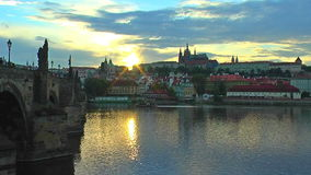 Scenic sunset in Prague stock video footage