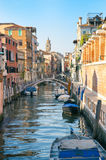 Scenic Sunset Scene Venice Italy Canal Stock Photo