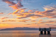 Scenic sunset at the shore of Batangas, Philippines stock photography