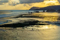 Scenic sunset view at Merese hill, Lombok island, Indonesia stock photography