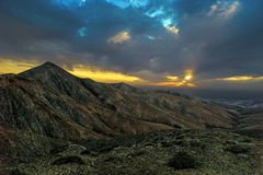 Scenic sunset in the vulcan mountains of the Canary Islands.. Stock Photo